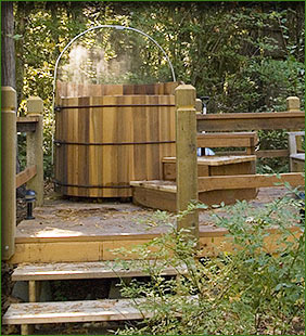 Hot tub, naturally heated from Belknap Springs.